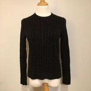EUC-LL Bean-Black Crewneck Cable Cotton Sweater- S